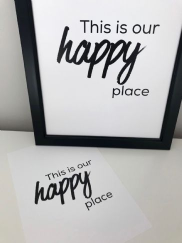 This is our happy place (A4 & A5 monochrome prints)